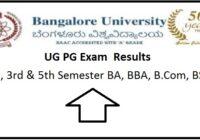 Bangalore University UG PG Result 2020 1st, 3rd ,5th Semester