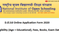 NIOS DELED Online Application Form 2020 Eligibility, Fee, Exam Date