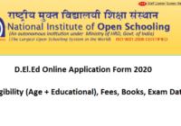 NIOS DELED Online Application Form 2020 Eligibility, Fee, Exam Date
