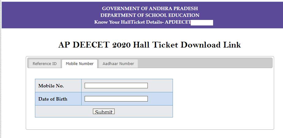 AP DEECET Hall Ticket Download Link
