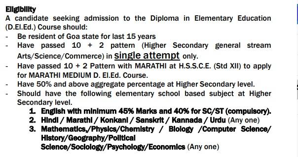 Goa D.El.Ed Admission Eligibility Criteria