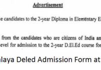 Meghalaya Deled Admission