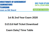 TS D.El.Ed Hall Ticket 2020 1st & 2nd Year Time Table Exam Date