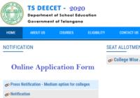 TS DEECET Online Application Form 2020