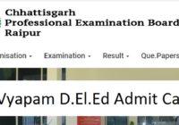 CG Pre DElEd Admit Card 2020 CG Vyapam D.Ed Exam Date