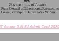 SCERT Assam D.El.Ed Admit Card 2020