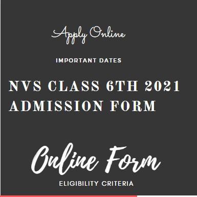 NVS 6 Class Admission Form 2021