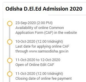 Odisha D.El.Ed Admission 2020