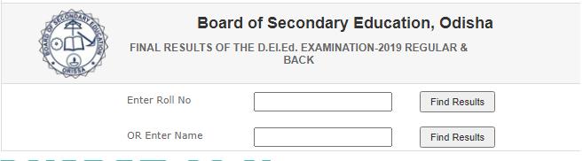 BSE Odisha D.El.Ed Result 2021