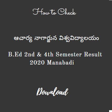 ANU B.Ed 2nd 4th Semester Results 2020 Manabadi