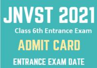 JNVST 6th Class Admit Card 2021