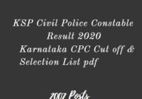 KSP Civil Police Constable Result 2020, Karnataka CPC Selection List