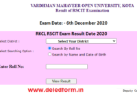 RSCIT Result Roll No Wise 6 Dec 2020 VMOU RKCL Results Name Wise
