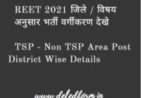 REET 2021 District & Subject Wise Vacancy, 3rd Grade Teacher Level 1 – 2 Posts