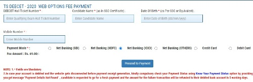 TS DEECET 2020 Web Option Fee Payment